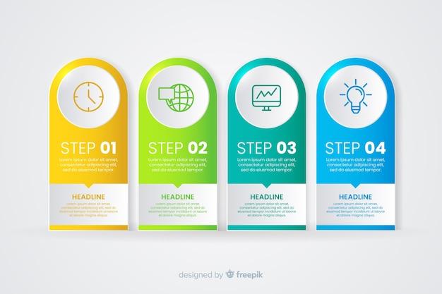Steigung infografik mit verschiedenen schritten Kostenlosen Vektoren