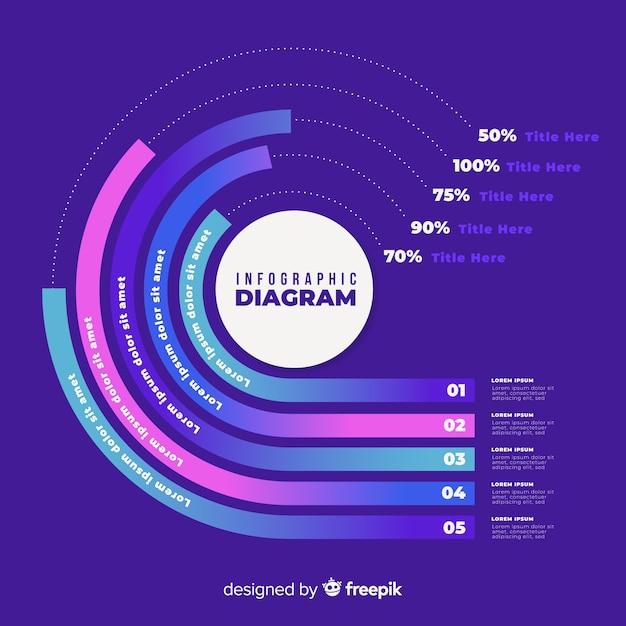 Steigung infographic auf violettem hintergrund Kostenlosen Vektoren