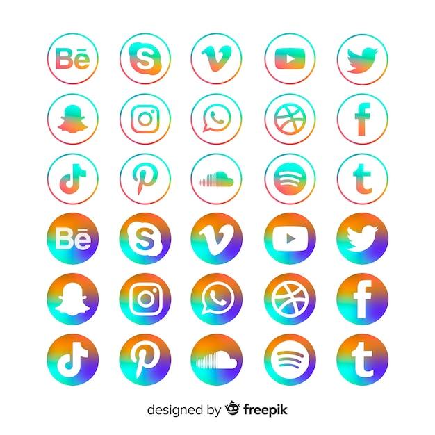 Steigungssocial media-ikonensatz Kostenlosen Vektoren