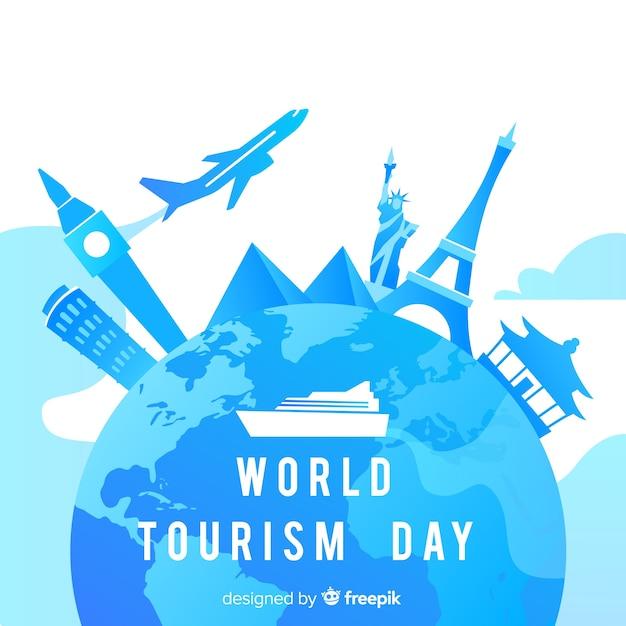 Steigungswelttourismus-tageswelt mit marksteinen Kostenlosen Vektoren