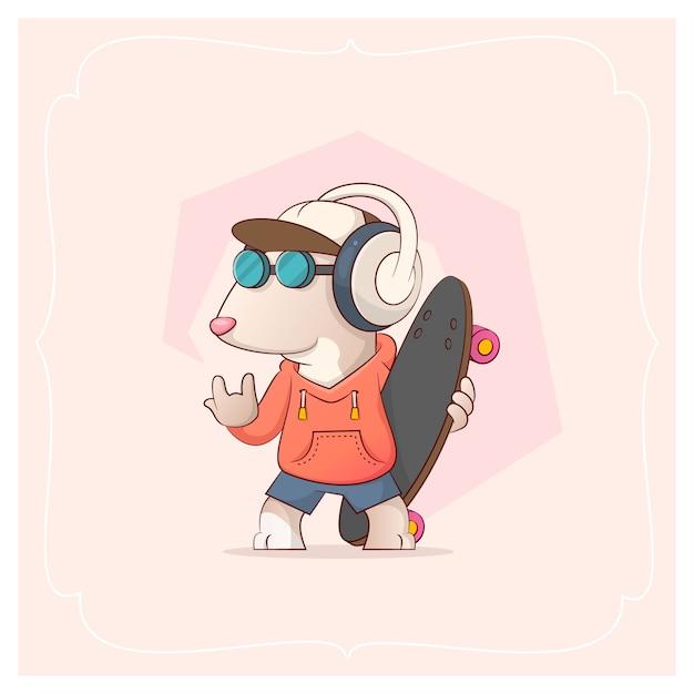 Steiler pitbull und skateboard. vektor-illustration aus einer serie funny pets Premium Vektoren