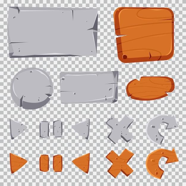 Stein- und holzknöpfe, tabletten- und rahmenkarikaturspiel-ui-satz lokalisiert auf einem transparenten hintergrund. Premium Vektoren