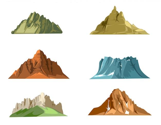 Steine und naturfelsen stellten mit grünem gras der karikatur ein. vector die gesetzten illustrationen des steins und des felsens, die auf weißem hintergrund lokalisiert werden Premium Vektoren
