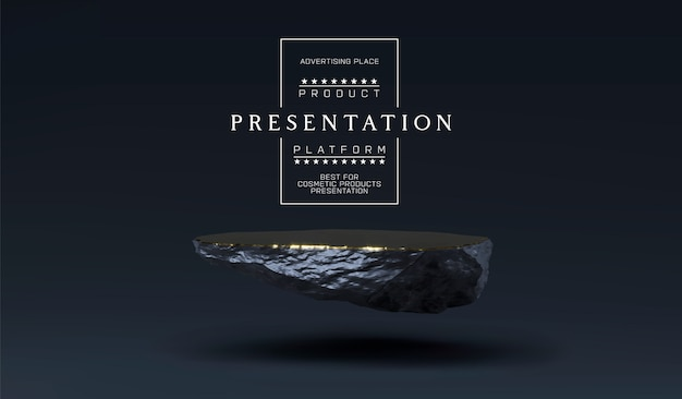 Steinpodest für produktpräsentation. marmor schwarz und gold sockel, produktständer. minimalistische objektplatzierung, steinplattenplattform für kosmetische produkte. Premium Vektoren