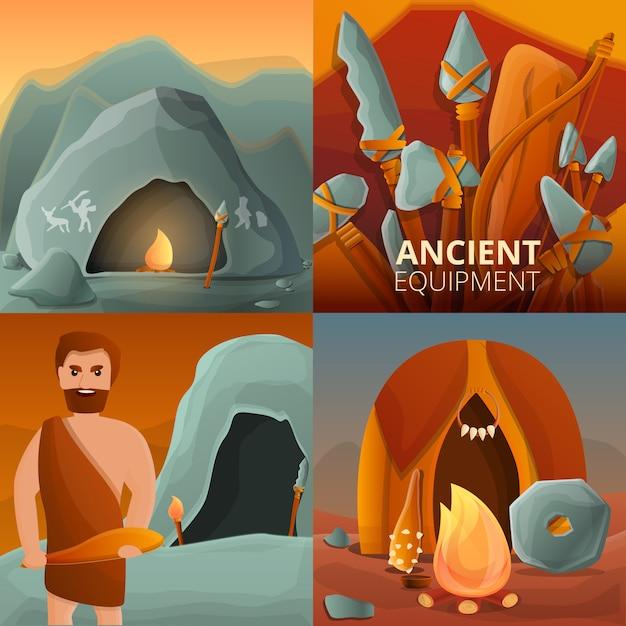 Steinzeitillustration eingestellt auf karikaturart Premium Vektoren