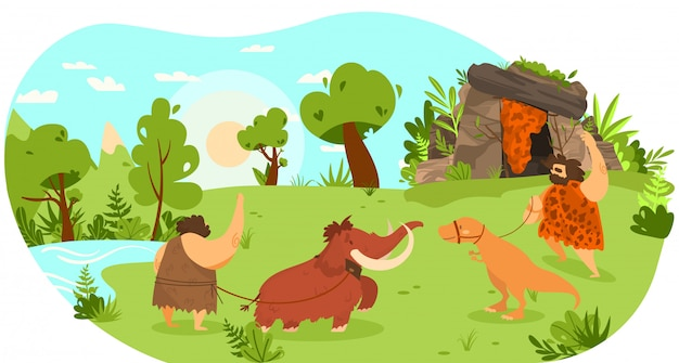 Steinzeitmenschen mit haustier tier, mammut und dinosaurier an der leine, lustige illustration Premium Vektoren