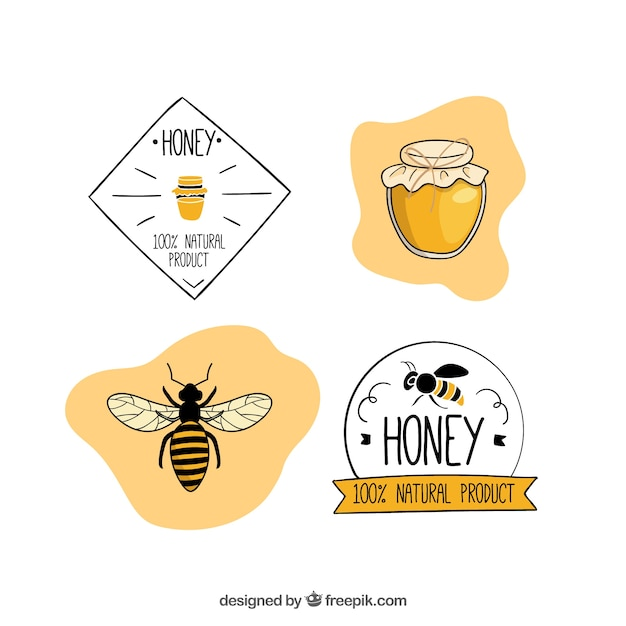 Stellen honig abzeichen und etiketten Kostenlosen Vektoren