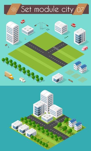 Stellen sie 3d stadtbildstadtstraßenkreuzung der autobahnstraße ein. isometrische ansicht von wolkenkratzer-bürogebäuden und wohnbaugebieten Premium Vektoren