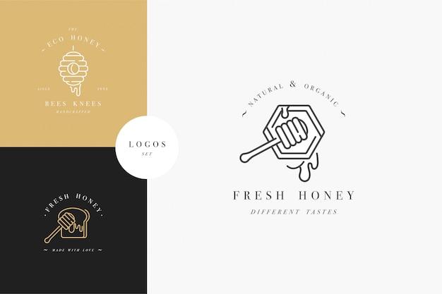 Stellen sie abbildungslogos und designvorlagen oder -abzeichen ein. bio- und öko-honigetiketten und etiketten mit bienen. linearer stil und goldene farbe. Premium Vektoren