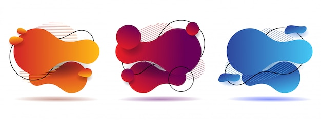 Stellen sie abstrakte bunte flüssige geometrische form ein. design mit flüssigem gradienten Premium Vektoren