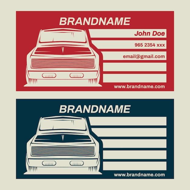 Stellen Sie Alte Auto Shop Visitenkarte Des Oldtimer Autos