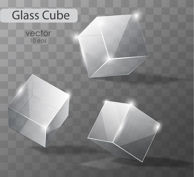 Stellen sie auf ein transparentes glas würfel in verschiedenen winkeln. realistisches objekt. Premium Vektoren