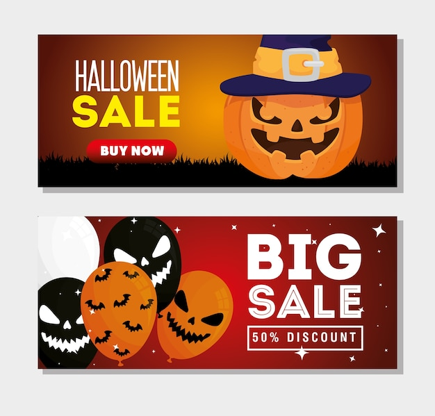 Stellen sie banner des halloween-verkaufs mit dekoration ein Premium Vektoren