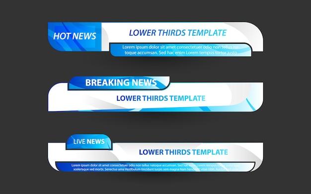 Stellen sie banner und untere drittel für den nachrichtenkanal mit weißer und blauer farbe ein Premium Vektoren