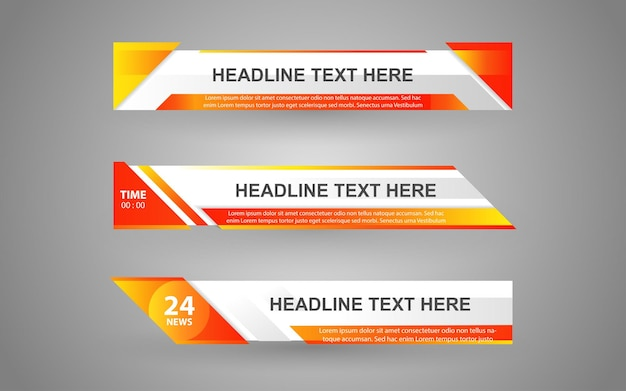 Stellen sie banner und untere drittel für den nachrichtenkanal mit weißer und orange farbe ein Premium Vektoren