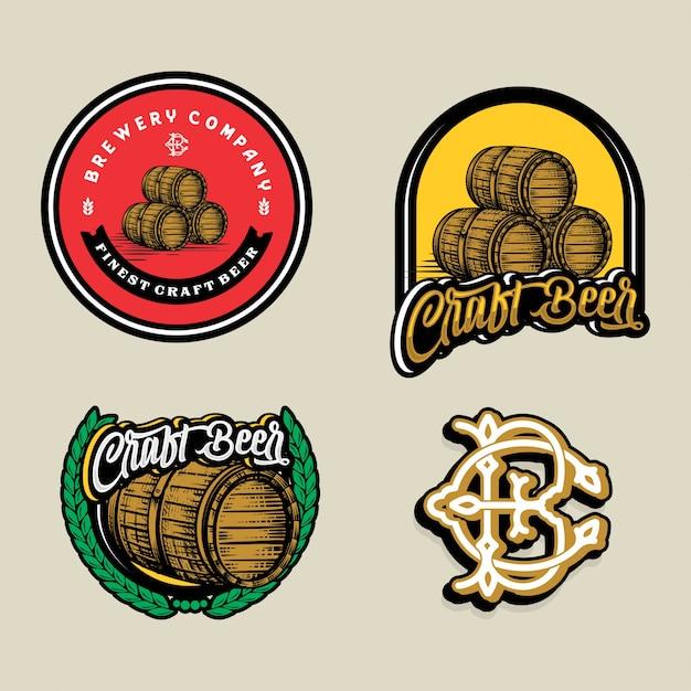 Stellen sie bierlogo - illustration, emblembrauereidesign ein. Premium Vektoren