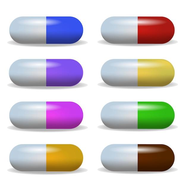 Stellen sie bild mehrfarbige tablette in einer reihe zwei Premium Vektoren