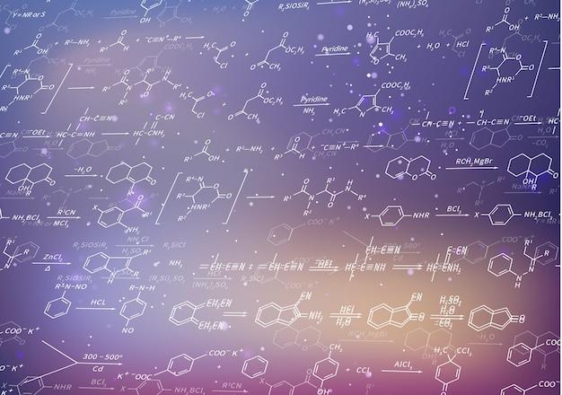 Stellen sie chemische gleichungen und formeln auf unscharfem purpurrotem hintergrund wieder her Premium Vektoren