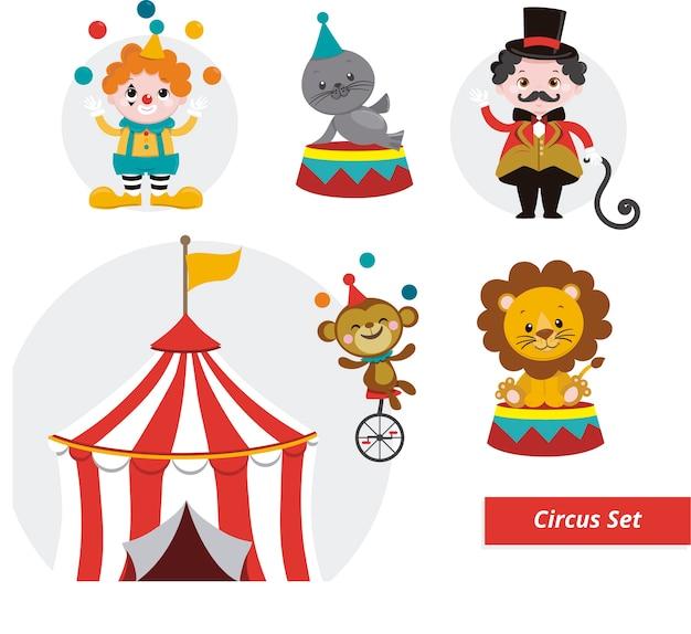Stellen sie circus ilustrationen ein Premium Vektoren