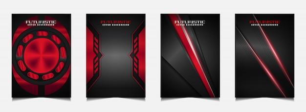 Stellen sie cover-design-vorlage mit futuristischem rotem und schwarzem hintergrund ein Premium Vektoren