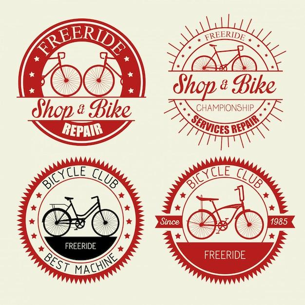 Stellen sie das fahrradgeschäft-emblem mit dem reparaturservice ein Kostenlosen Vektoren