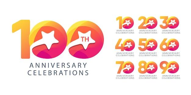 Stellen sie das jubiläumsdesign-logo-konzept ein. Premium Vektoren