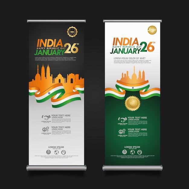 Stellen sie das roll-up-banner india happy republic day ein Premium Vektoren