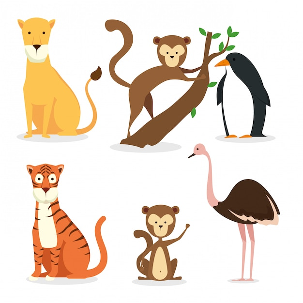 Stellen sie das wildtierreservat auf die erhaltung der fauna ein Kostenlosen Vektoren