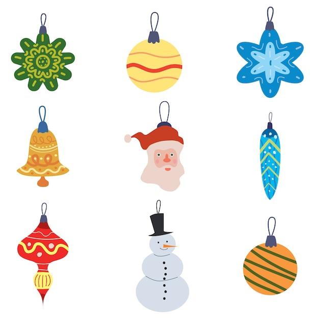 Stellen sie dekorative elemente der weihnachts-retro-spielzeugbälle ein. Premium Vektoren