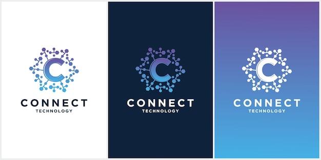 Stellen sie den kreativen c-buchstaben mit dot circle connected als network logo-technologie ein Premium Vektoren