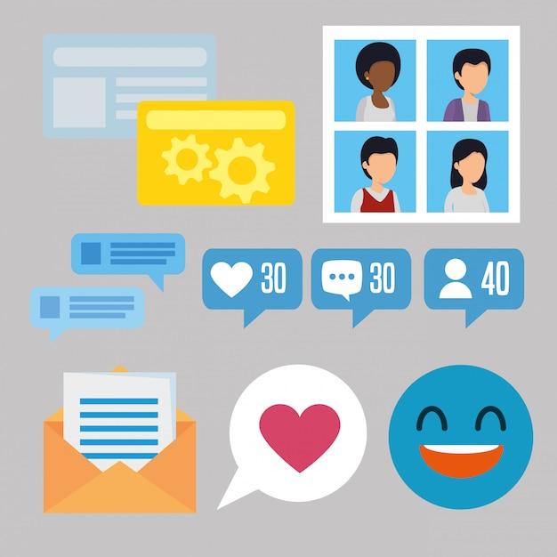Stellen sie die community-nachricht mit der social-chat-blase ein Kostenlosen Vektoren