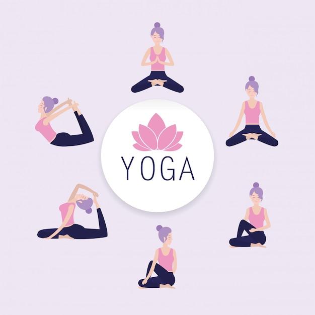 Stellen sie die frau ein, die yoga-gleichgewicht hält Premium Vektoren