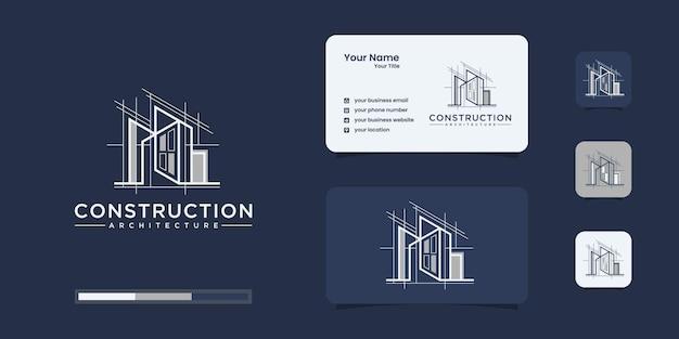 Stellen sie die logo-architektur mit inspiration für das linienkonzept-logo ein Premium Vektoren