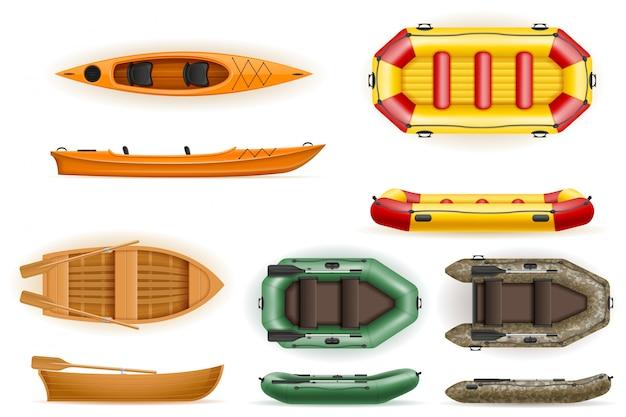 Stellen sie die ruderboote ein, die von der hölzernen und aufblasbaren vektorplastikillustration hergestellt werden Premium Vektoren