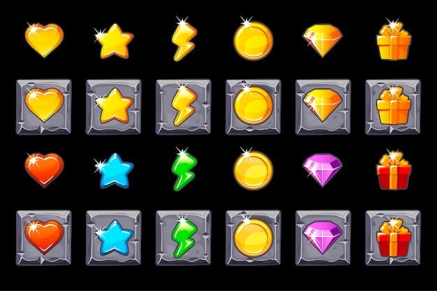 Stellen sie die symbole der spiel-benutzeroberfläche für spiele auf das steinquadrat. Premium Vektoren