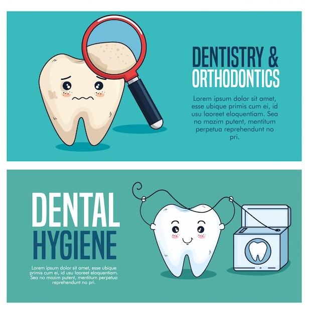 Stellen sie die zahnpflegebehandlung mit lupe und zahnseide ein Kostenlosen Vektoren