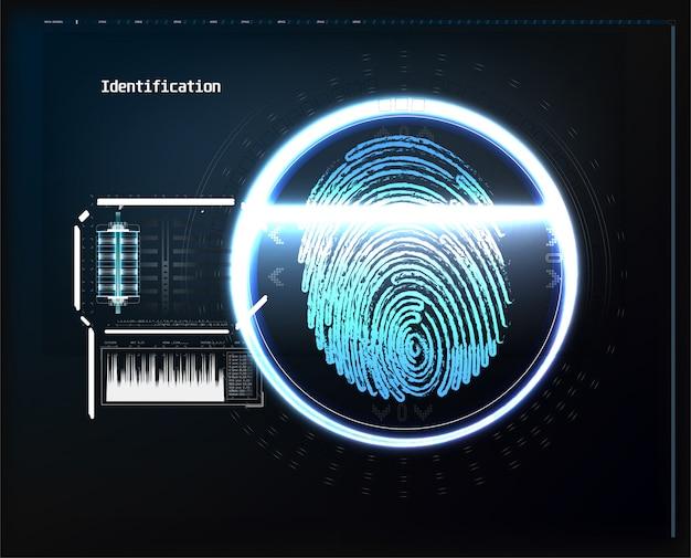 Stellen sie digitale erkennung gegenüber, identifikation stellt das biometrische scannen gegenüber, um abstraktes futuristisches des sicheren zugangs. scannen sie gesicht digital, erkennungsüberprüfung und identifizierungsillustration Premium Vektoren
