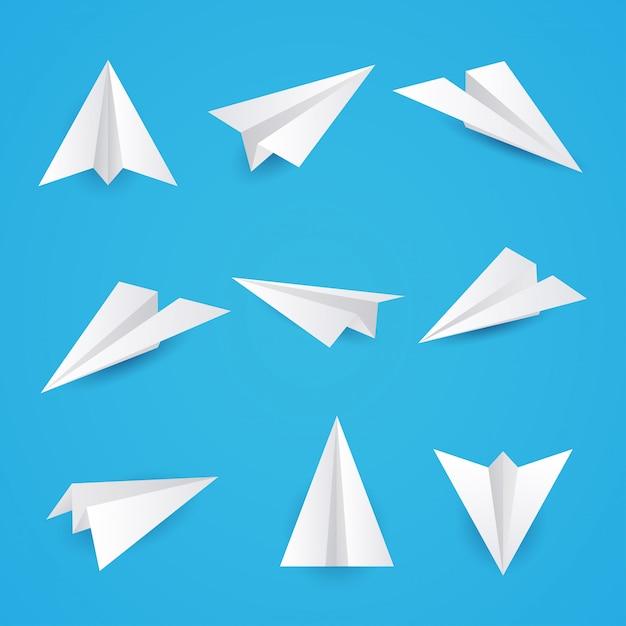 Stellen sie ein einfaches papierebenensymbol ein. illustration. Premium Vektoren