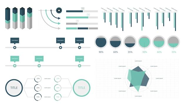 Stellen sie elemente von infografik ein Kostenlosen Vektoren