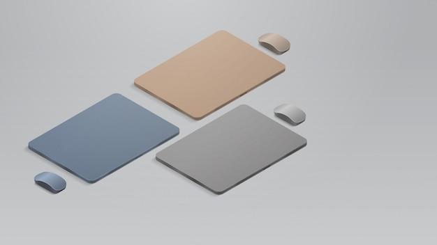 Stellen sie farbige geschlossene laptops mit realistischen modellgeräten und -geräten für mäuse ein Premium Vektoren