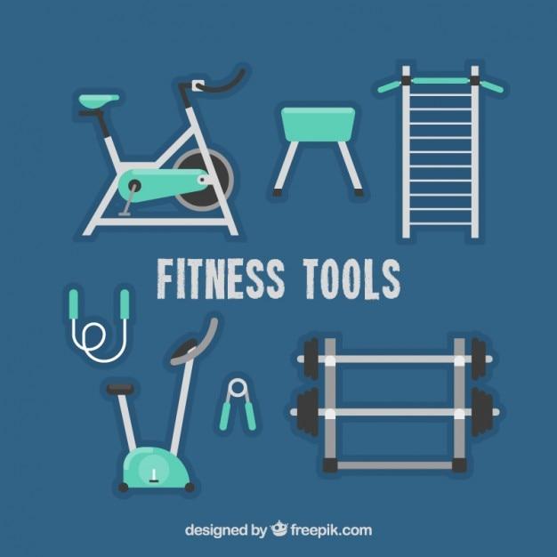 Stellen sie fitnessgeräte in flaches design Kostenlosen Vektoren