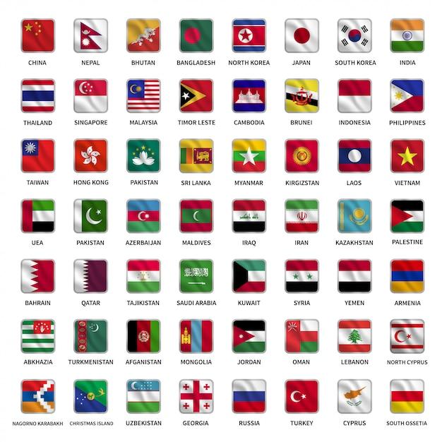 Stellen sie flaggen von asiatischen ländern mit wellenartig bewegender quadratischer formart ein Premium Vektoren
