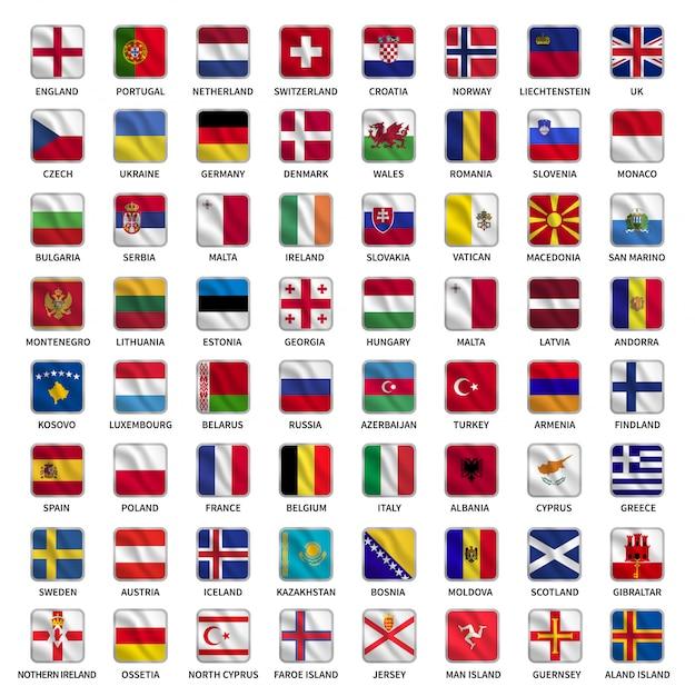Stellen sie flaggen von europa-ländern mit wellenartig bewegender quadratischer formart ein Premium Vektoren