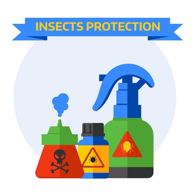 Stellen sie flaschen mit den verschiedenen giftschlägern ein, welche die spinne fliegen, die um todesinsektenschutzvektor kriecht. Premium Vektoren