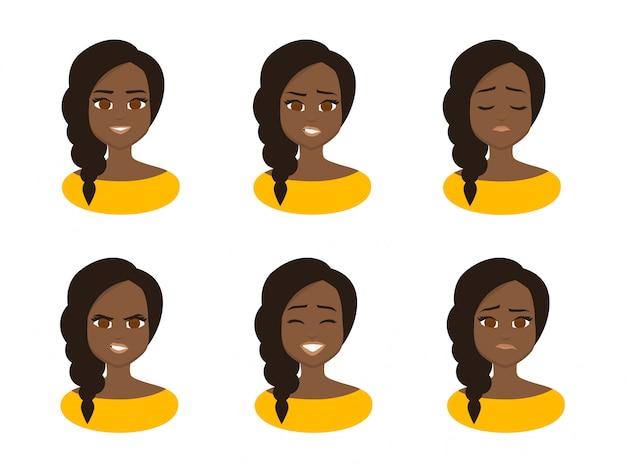 Stellen sie gesichtsausdrücke der jungen afrikanischen geschäftsfrau ein, die gelbes kostüm trägt. Premium Vektoren