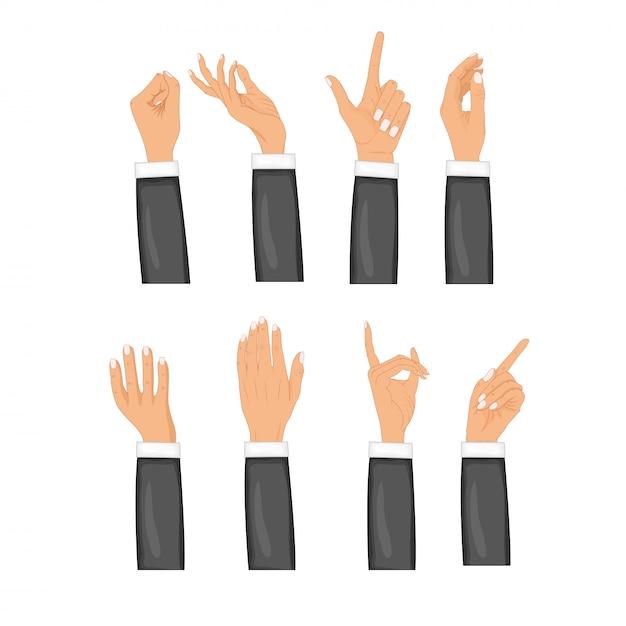 Stellen sie hände in den verschiedenen getrennten gesten ein. farbiger handzeichensatz. sammlung emotionen, zeichen. Premium Vektoren