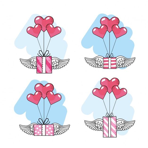 Stellen sie herzballone mit geschenkengeschenken und -flügeln ein Premium Vektoren