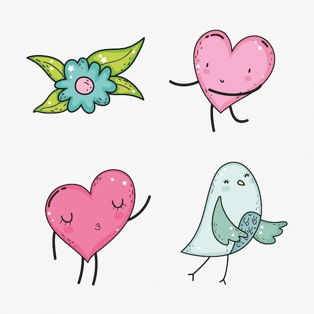 Stellen sie herzen mit blume und vogel zum valentinsgrußtag ein Premium Vektoren