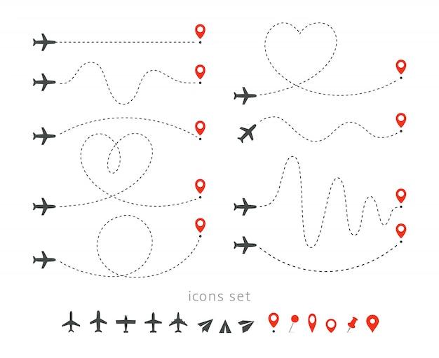 Stellen sie ikonen der reisemethode mit dem flugzeug ein. start und landung eines passagierflugzeugs. flug route infographik elemente. Premium Vektoren