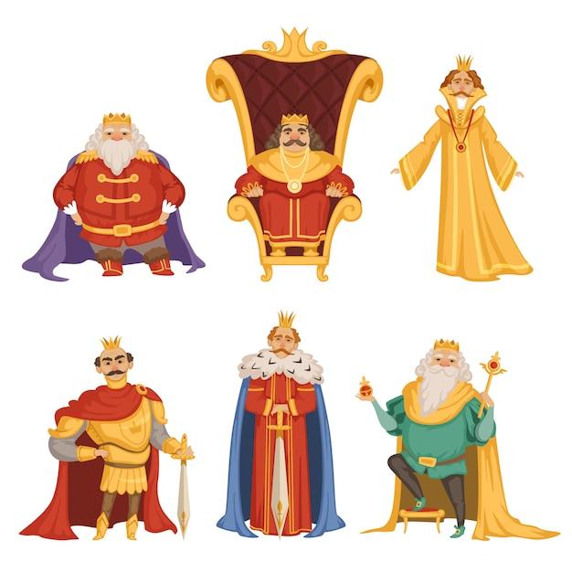 Stellen sie illustrationen des königs in der karikaturart ein Premium Vektoren